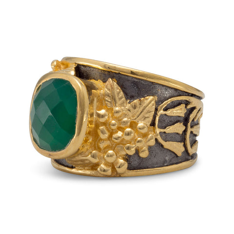 Ornate Two Tone Green Onyx Ring