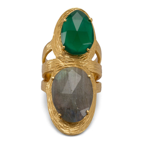 Beautiful 14 Karat Gold Plated Ring with Labradorite and Green Onyx