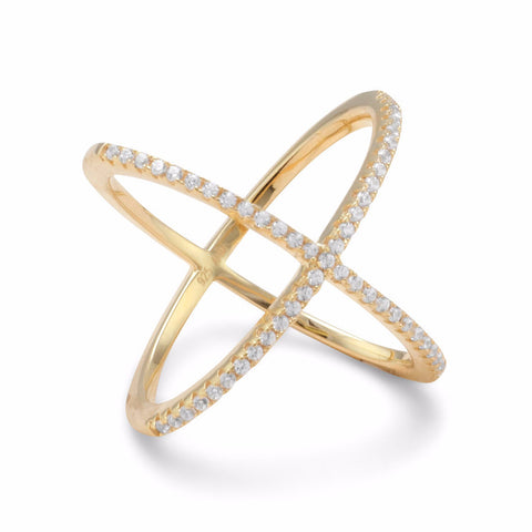 18 Karat Gold Plated Criss Cross 'X' Ring with Signity CZs