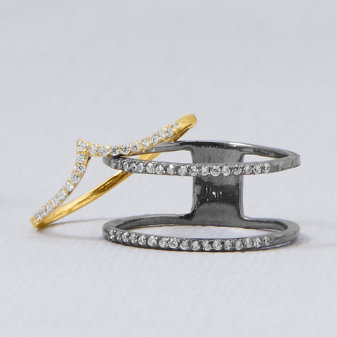 Ruthenium Plated Double Row CZ Ring