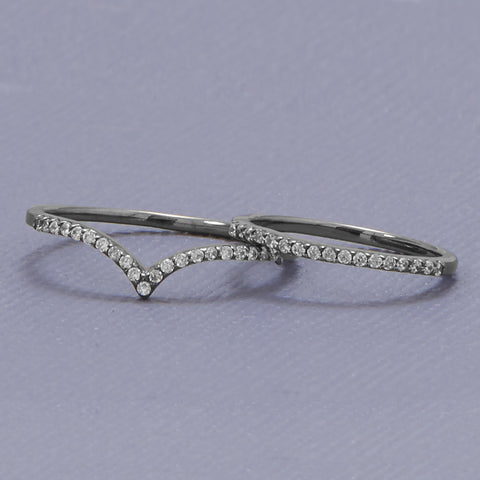 "Ruthenium Plated CZ ""V"" Ring"