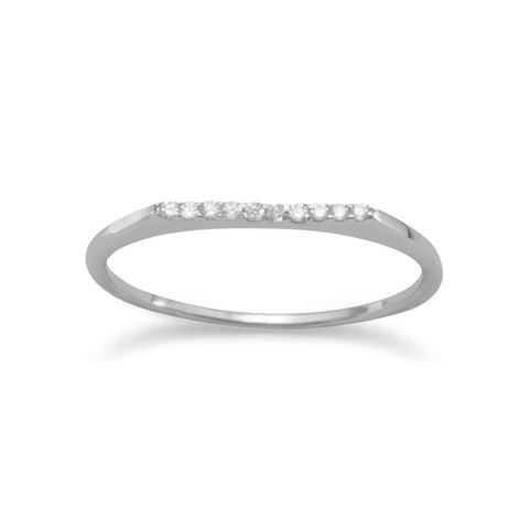 Rhodium Plated Flat Top CZ Ring