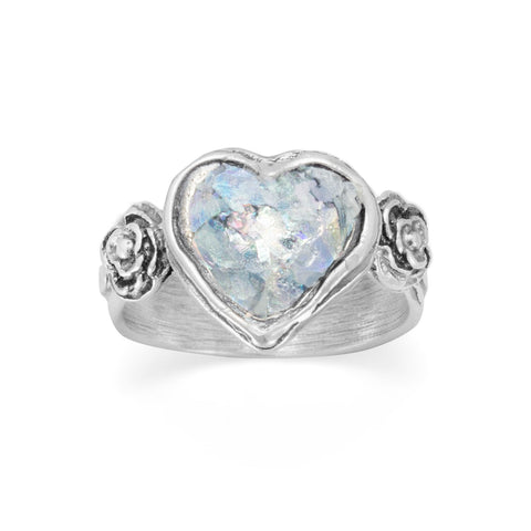 Roman Glass Heart Ring