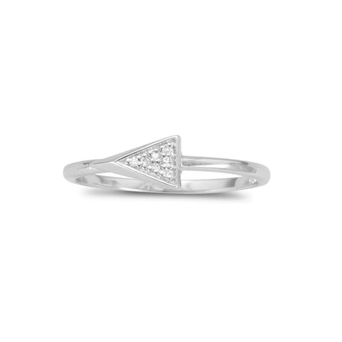 Rhodium Plated Small Triangle Ring with Diamonds