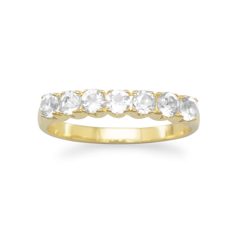 14 Karat Gold Plated White Topaz Ring
