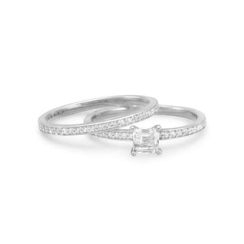 Rhodium Plated Two Ring Set with White Sapphires and White Topaz