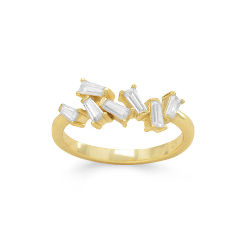 14 Karat Gold Plated Angular CZ Ring