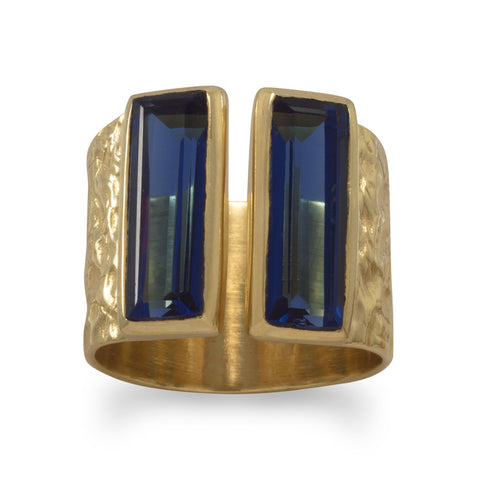 Textured 14 Karat Gold Plated Blue Glass Ring