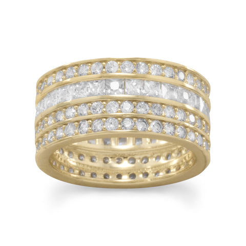14 Karat Gold Plated 4 Row CZ Band