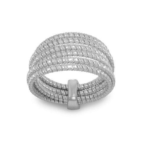 Rhodium Plated 6 Row Ring
