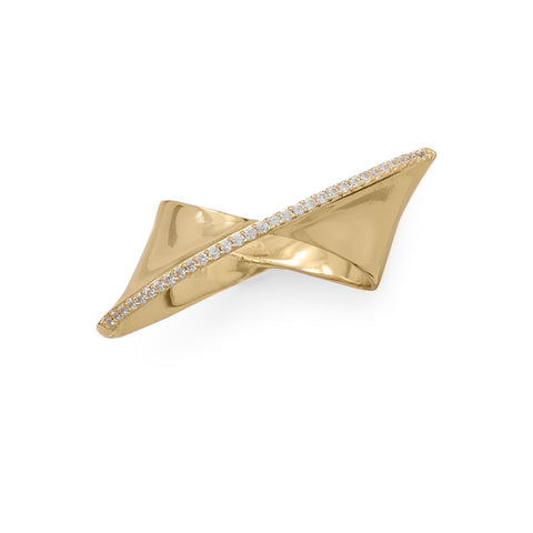 14 Karat Gold Plated Diagonal CZ Ribbon Ring