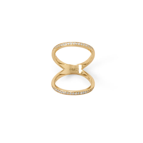 14 Karat Gold Plated CZ Double Band Knuckle Ring
