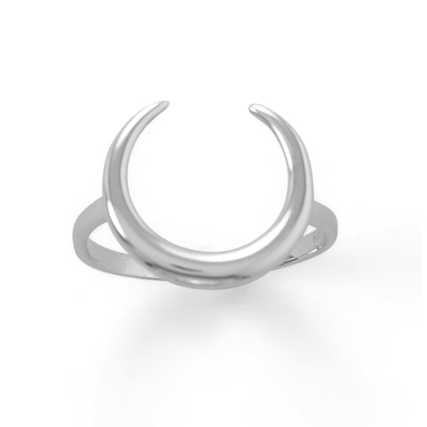 Polished Crescent Moon Ring