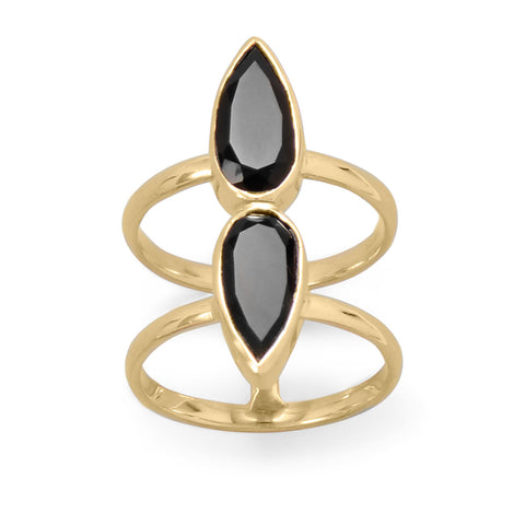 14 Karat Gold Plated Double Pear Onyx Ring