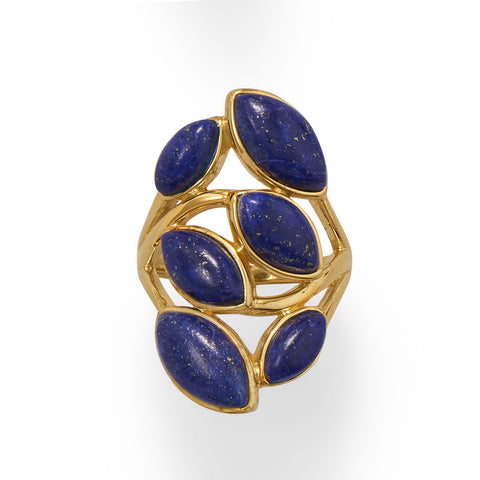 14 Karat Gold Plated Pear Shaped Lapis Ring