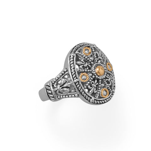 Fleur De Lis Fever! Ornate 14 Karat Gold and Sterling Silver Ring