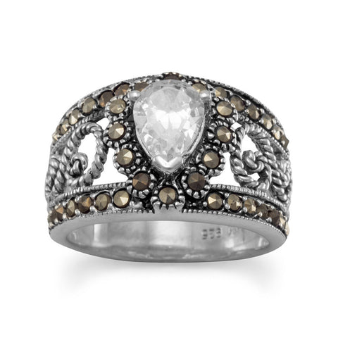 Filigree Marcasite and Pear CZ Ring
