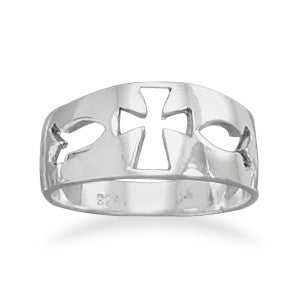 Cut Out Cross/Ichthys Ring