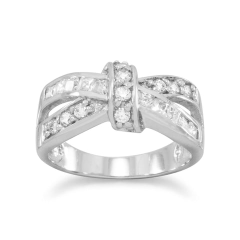 Rhodium Plated CZ Love Knot Look Ring