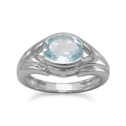 Oxidized Oval Blue Topaz Ring