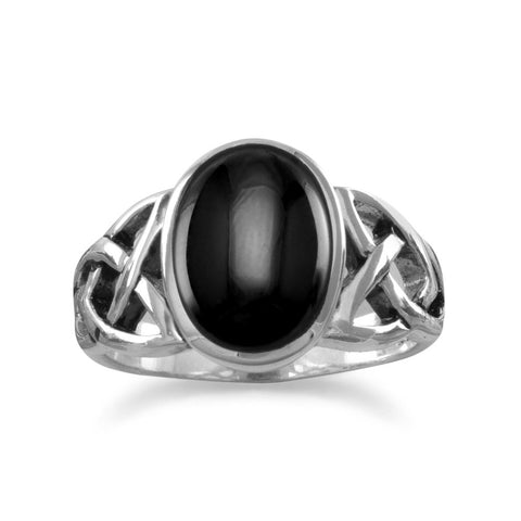 Oval Black Onyx Ring with Celtic Sides