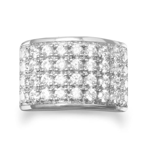 Rhodium Plated Four Row Ring with 36 CZs