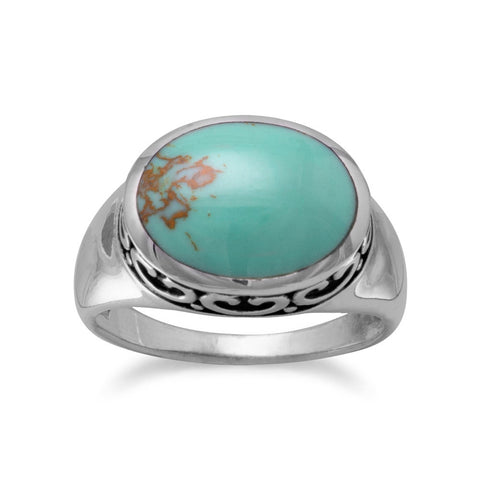 Oval Reconstituted Turquoise with Filigree Side Ring