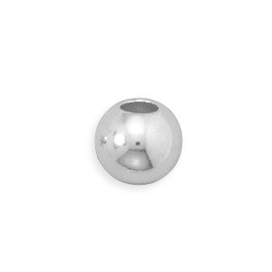 8mm Sterling Silver Bead with 4mm Hole