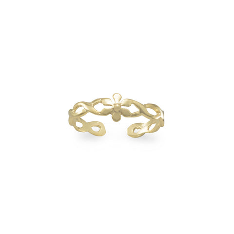 14 Karat Gold Plated Flower Toe Ring