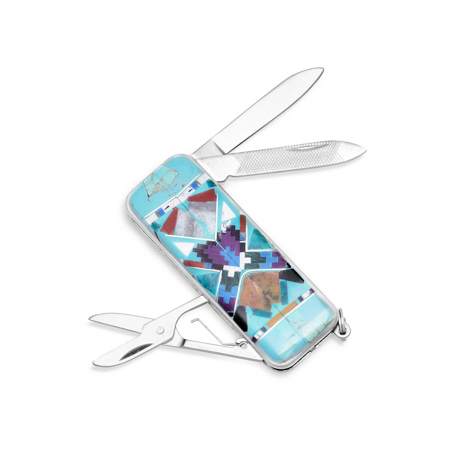Stainless Steel and Multicolor Imitation Stone POCKET KNIFE Money Clip