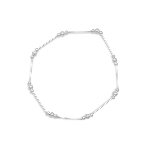 "9"" Liquid Silver Anklet with Polished Beads"