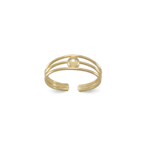 Gold Plated 3 Row Toe Ring with Bead