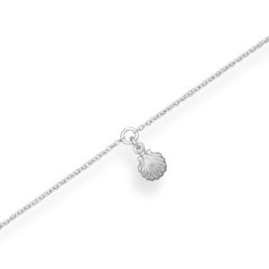 "11"" + 1"" Rhodium Plated Shell Anklet"