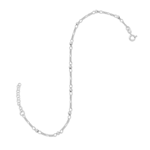 "11"" + 1"" Figaro Chain Anklet with Beads"