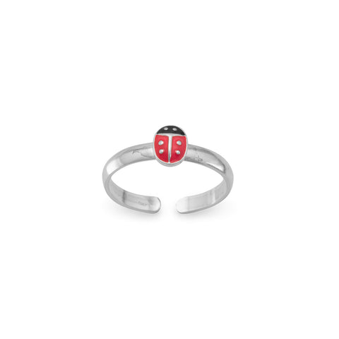 Red and Black Enamel Ladybug Toe Ring