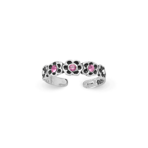 Pink Crystal Flower Toe Ring