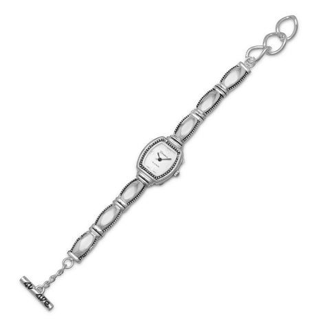 "7""+.5"" Extension Polished and Oxidized Bead Edge Fashion Watch"