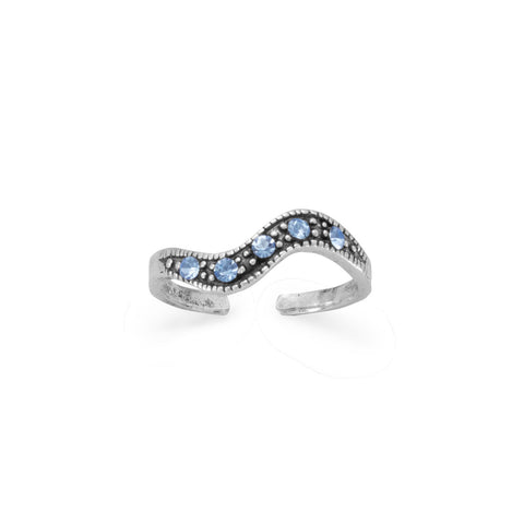 Oxidized Toe Ring with Blue Crystals