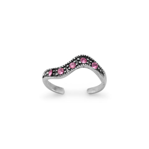 Oxidized Toe Ring with Pink Crystals