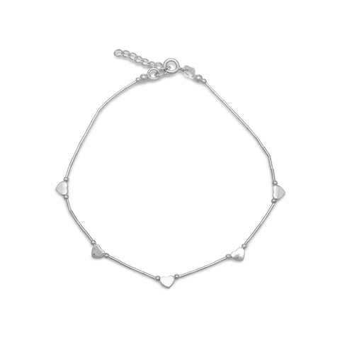"9""+1"" Extension Liquid Silver Anklet with Hearts"