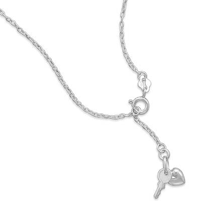 "9""+1"" Extension Chain Anklet with Heart and Key Charm"