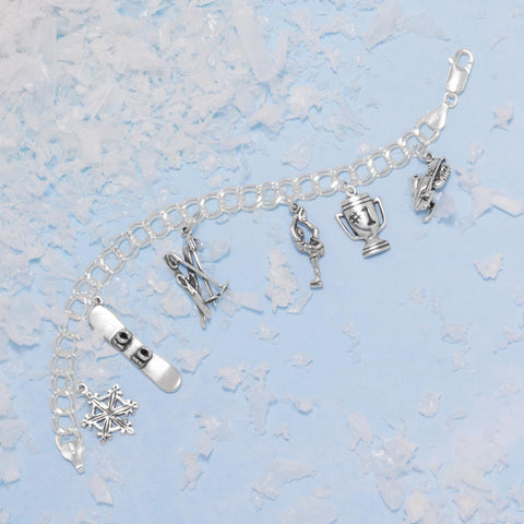 Snow Skis and Ski Poles Charm