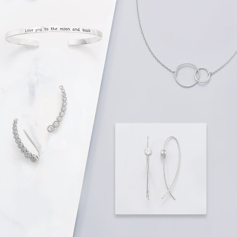 Rhodium Plated Thin Wire with Bezel CZ Earrings