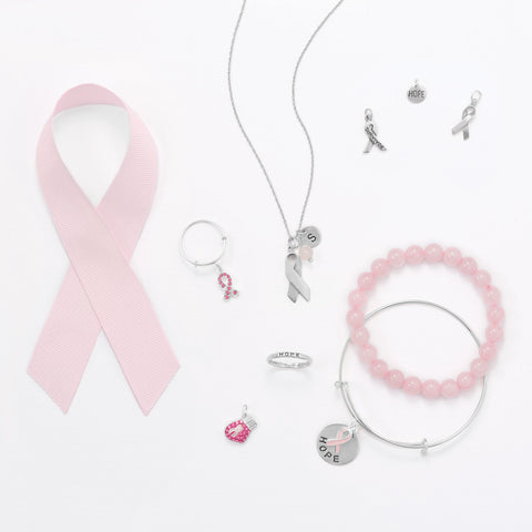Pink Glass Awareness Ribbon Charm