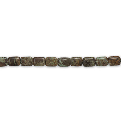 Strand of Rectangle Aqua Terra Jasper Beads