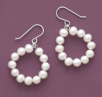 Rhodium Plated Open Circle French Wire Earrings with Cultured Freshwater Pearls