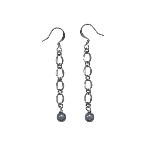 Plated Gunmetal and Hematite Earrings