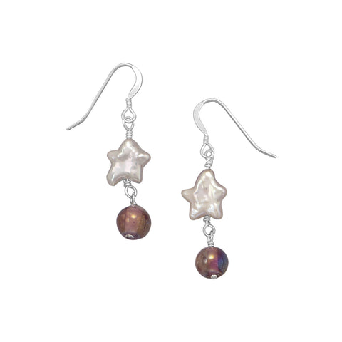Cultured Freshwater Pearl and Glass Earrings