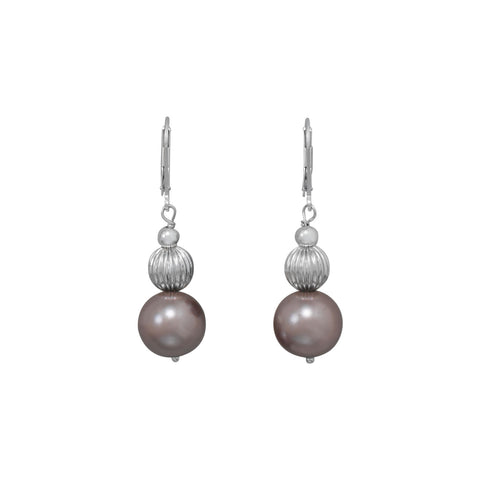 Mauve Glass Pearl and Corrugated Bead Earrings