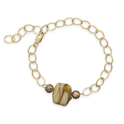 "6.5""+1.5"" 14/20 Gold Filled Bracelet with Ceramic Bead"